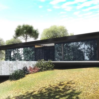 Maison à flan de colline-Gard structure métal sur pilotis